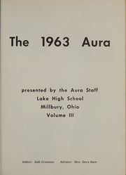Page 5, 1963 Edition, Lake High School - Aura Yearbook (Millbury, OH) online yearbook collection