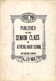 Page 3, 1924 Edition, Athens High School - Arena Yearbook (Athens, OH) online yearbook collection