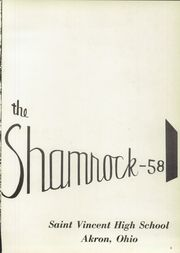 Page 5, 1958 Edition, St Vincent High School - Shamrock Yearbook (Akron, OH) online yearbook collection
