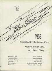 Page 5, 1958 Edition, Archbold High School - Blue Streak Yearbook (Archbold, OH) online yearbook collection