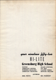 Page 3, 1952 Edition, Greensburg High School - Hi Lites Yearbook (Greensburg, OH) online yearbook collection