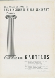 Page 7, 1941 Edition, Cincinnati Bible Seminary - Nautilus Yearbook (Cincinnati, OH) online yearbook collection