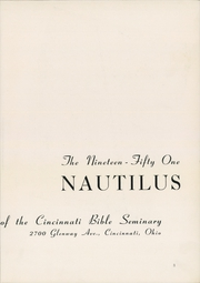 Page 7, 1951 Edition, Cincinnati Bible Seminary - Nautilus Yearbook (Cincinnati, OH) online yearbook collection