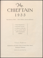 Page 9, 1933 Edition, Central High School - Chieftain Yearbook (Muskogee, OK) online yearbook collection