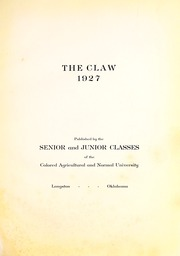 Page 7, 1927 Edition, Langston University - Claw Yearbook (Langston, OK) online yearbook collection