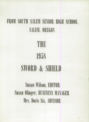 Page 5, 1958 Edition, South Salem High School - Sword and Shield Yearbook (Salem, OR) online yearbook collection