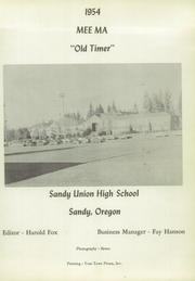 Page 5, 1954 Edition, Sandy High School - Mee Ma Yearbook (Sandy, OR) online yearbook collection