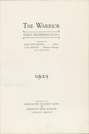 Page 3, 1925 Edition, Lebanon Union High School - Warrior Yearbook (Lebanon, OR) online yearbook collection