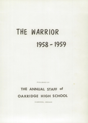 Page 5, 1959 Edition, Oakridge High School - Warrior Yearbook (Oakridge, OR) online yearbook collection