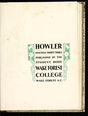 Page 7, 1933 Edition, Wake Forest University - Howler Yearbook (Winston Salem, NC) online yearbook collection