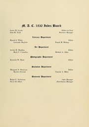 Page 11, 1930 Edition, University of Massachusetts Amherst - Index Yearbook (Amherst, MA) online yearbook collection