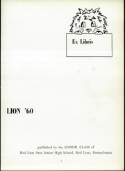 Page 5, 1960 Edition, Red Lion Area High School - Lion Yearbook (Red Lion, PA) online yearbook collection