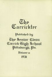 Page 5, 1931 Edition, Carrick High School - Carrickter Yearbook (Pittsburgh, PA) online yearbook collection