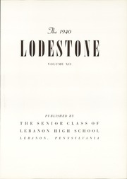 Page 9, 1940 Edition, Lebanon High School - Lodestone Yearbook (Lebanon, PA) online yearbook collection