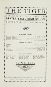 Page 7, 1917 Edition, Beaver Falls High School - Tiger Yearbook (Beaver Falls, PA) online yearbook collection