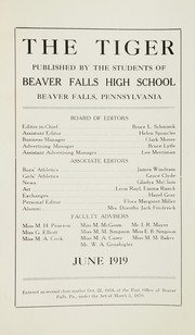 Page 4, 1919 Edition, Beaver Falls High School - Tiger Yearbook (Beaver Falls, PA) online yearbook collection