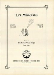 Page 7, 1931 Edition, Wilson Area High School - Les Memoires Yearbook (Easton, PA) online yearbook collection