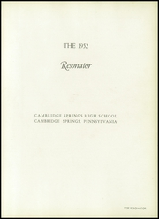 Page 5, 1952 Edition, Cambridge Springs Joint High School - Resonator Yearbook (Cambridge Springs, PA) online yearbook collection