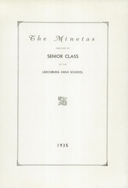 Page 5, 1935 Edition, Leechburg High School - Minetas Yearbook (Leechburg, PA) online yearbook collection