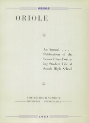 Page 7, 1937 Edition, South High School - Oriole Yearbook (Pittsburgh, PA) online yearbook collection