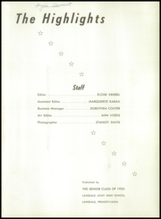 Page 5, 1955 Edition, Lansdale High School - Highlights Yearbook (Lansdale, PA) online yearbook collection