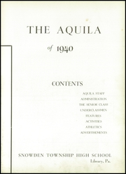 Page 7, 1940 Edition, Snowden High School - Aquila Yearbook (Library, PA) online yearbook collection