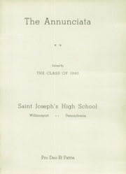Page 5, 1940 Edition, St Joseph High School - Annunciata Yearbook (Williamsport, PA) online yearbook collection