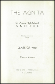 Page 7, 1940 Edition, St Agnes High School - Agnita Yearbook (West Chester, PA) online yearbook collection