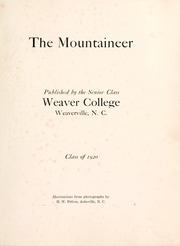 Page 5, 1920 Edition, Weaver College - Mountaineer Yearbook (Weaverville, NC) online yearbook collection