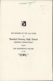 Page 12, 1938 Edition, Evening High School - Owl Yearbook (Reading, PA) online yearbook collection