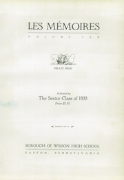 Page 11, 1933 Edition, Wilson Borough High School - Des Memoires Yearbook (Allentown, PA) online yearbook collection
