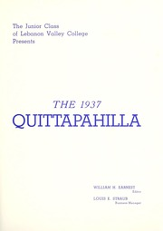 Page 7, 1937 Edition, Lebanon Valley College - Quittapahilla Yearbook (Annville, PA) online yearbook collection