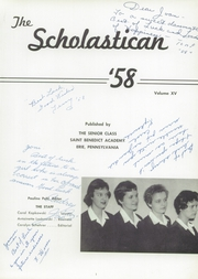 Page 5, 1958 Edition, St Benedict Academy - Scholastican Yearbook (Erie, PA) online yearbook collection