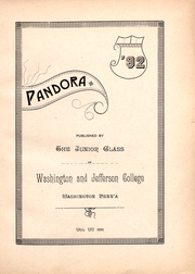 Page 14, 1892 Edition, Washington and Jefferson College - Pandora Yearbook (Washington, PA) online yearbook collection