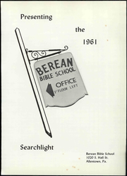 Page 9, 1961 Edition, Berean Bible School - Searchlight Yearbook (Allentown, PA) online yearbook collection