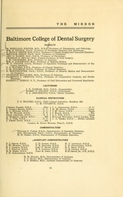 Page 17, 1910 Edition, University of Maryland Baltimore Dental School - Mirror Yearbook (Baltimore, MD) online yearbook collection