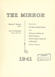Page 5, 1941 Edition, University of Maryland Baltimore Dental School - Mirror Yearbook (Baltimore, MD) online yearbook collection