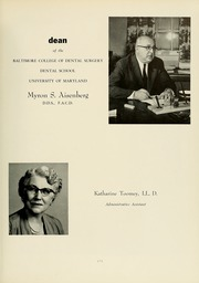 Page 13, 1961 Edition, University of Maryland Baltimore Dental School - Mirror Yearbook (Baltimore, MD) online yearbook collection