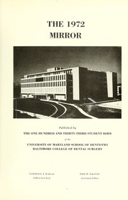 Page 5, 1972 Edition, University of Maryland Baltimore Dental School - Mirror Yearbook (Baltimore, MD) online yearbook collection