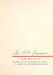 Page 5, 1939 Edition, Lenoir Rhyne College - Hacawa Yearbook (Hickory, NC) online yearbook collection