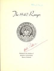 Page 7, 1940 Edition, Regis College - Ranger Yearbook (Denver, CO) online yearbook collection
