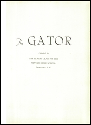 Page 5, 1949 Edition, Winyah High School - Gator Yearbook (Georgetown, SC) online yearbook collection