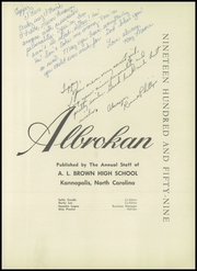 A L Brown High School - Albrokan Yearbook (Kannapolis, NC) online yearbook collection, 1959 Edition, Page 7