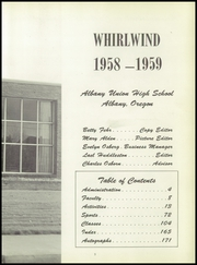 Page 7, 1959 Edition, Albany Union High School - Whirlwind Yearbook (Albany, OR) online yearbook collection