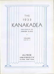 Page 7, 1933 Edition, Alfred University - Kanakadea Yearbook (Alfred, NY) online yearbook collection