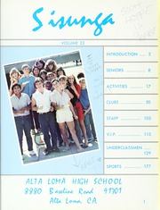 Alta Loma High School - Sisunga Yearbook (Alta Loma, CA) online yearbook collection, 1985 Edition, Page 5