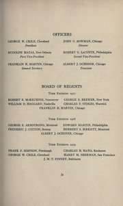Page 17, 1916 Edition, American College of Surgeons - Yearbook (Chicago, IL) online yearbook collection