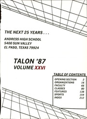 Andress High School - Talon Yearbook (El Paso, TX) online yearbook collection, 1987 Edition, Page 5 of 222