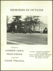 Andrew Lewis High School - Pioneer Yearbook (Salem, VA) online yearbook collection, 1959 Edition, Page 6 of 184