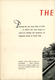 Page 8, 1941 Edition, Forest Park High School - Forester Yearbook (Baltimore, MD) online yearbook collection
